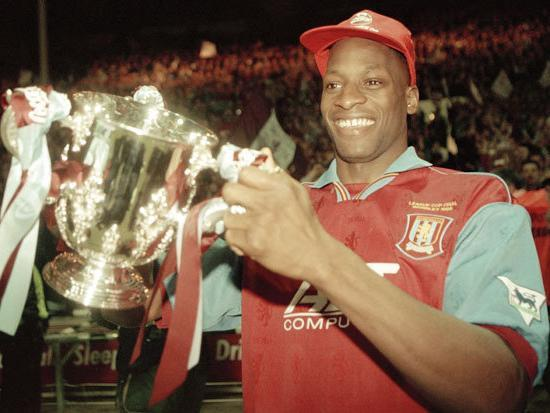 Ehiogu with the League Cup in 1996 (Getty)