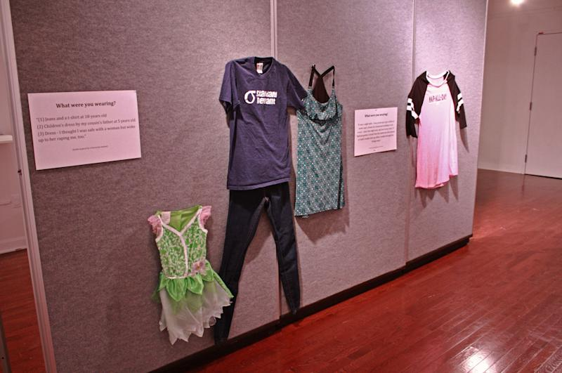 A photo of three outfits for one story. Brockman told HuffPost one woman was assaulted three times throughout her life, so she included three outfits for her story.