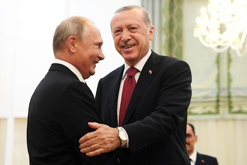 Russian President Vladimir Putin and his Turkish counterpart Recep Tayyip Erdogan, pictured on September 7, will meet in Sochi on Monday