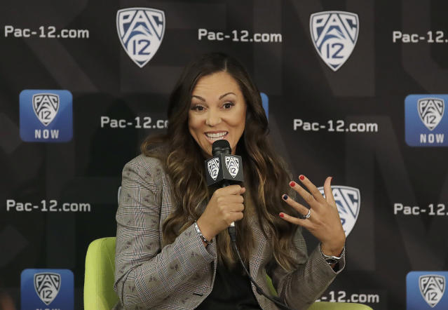 Arizona head coach Adia Barnes speaks during NCAA college basketball Pac-12 media day in San Francisco, Wednesday, Oct. 10, 2018. (AP Photo/Jeff Chiu)