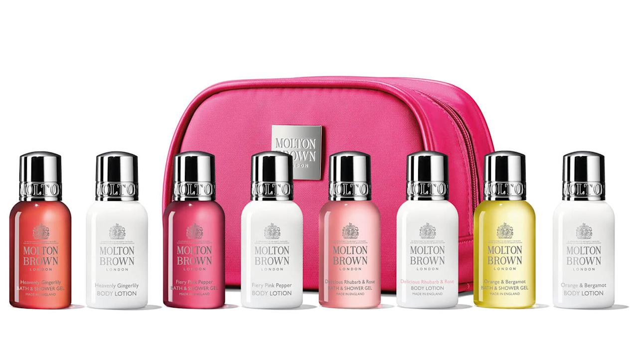 "Treat your loved one to a weekend of pampering with this eight-piece set of Molton Brown's luxurious and delicately fragranced body washes and lotions. Packaged in a nifty cosmetics bag, it makes for the ideal travel companion, too. <a href=""https://fave.co/2mIbCN0"">Shop now</a>."