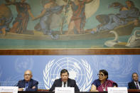 Marzuki Darusman, center, chairperson of the Independent International Fact-finding Mission on Myanmar, sits next to Christopher Sidoti, left, member of the Independent International Fact-finding Mission on Myanmar, and Radhika Coomaraswamy, right, member of the Independent International Fact-finding Mission on Myanmar, as they inform the media on the publication of a final written report on Myanmar, during a press conference, at the European headquarters of the United Nations in Geneva, Switzerland, Monday, Aug. 27, 2018. (Salvatore Di Nolfi/Keystone via AP)