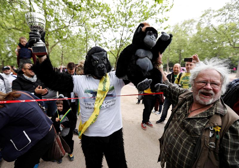 Charity event competitor Tom Harrison crosses the line at the London Marathon finish line on the Mall, dressed in a gorilla outfit to raise money for the Gorilla Foundation: REUTERS/Peter Nicholls