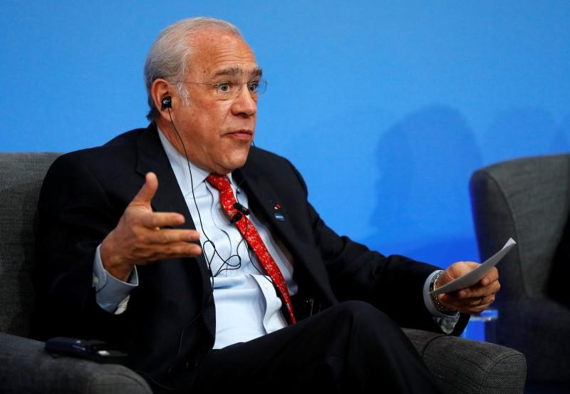 OECD Secretary General Angel Gurria speaks during a panel discussion during the Anti-Corruption Summit London 2016, at Lancaster House in central London on May 12, 2016