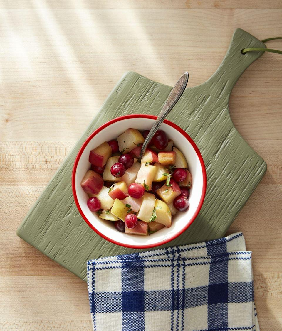 """<p>This simple fruit medley gets a lot of flavor from being sautéed in butter with vanilla and thyme. Swirl it into yogurt for a simple brunch, or use it to top the waffles above.</p><p><strong><a href=""""https://www.countryliving.com/food-drinks/a34275670/sauteed-apples-pear-and-cranberries/"""" rel=""""nofollow noopener"""" target=""""_blank"""" data-ylk=""""slk:Get the recipe"""" class=""""link rapid-noclick-resp"""">Get the recipe</a>.</strong></p><p><strong><a class=""""link rapid-noclick-resp"""" href=""""https://www.amazon.com/Victoria-Skillet-Seasoned-Flaxseed-Certified/dp/B01726HD72/?tag=syn-yahoo-20&ascsubtag=%5Bartid%7C10050.g.34822192%5Bsrc%7Cyahoo-us"""" rel=""""nofollow noopener"""" target=""""_blank"""" data-ylk=""""slk:SHOP CAST IRON PANS"""">SHOP CAST IRON PANS</a><br></strong></p>"""