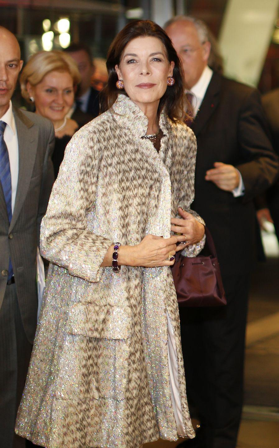 <p>For a Bolshoi Ballet performance in Monaco, Princess Caroline wore a shimmering fur coat and a suite of luxurious jewels.</p>