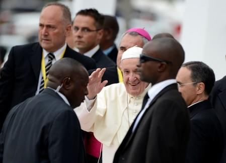 Pope Francis greets the faithful as he arrives at the Cathedral of Our Lady of the Immaculate Conception in Maputo, Mozambique,