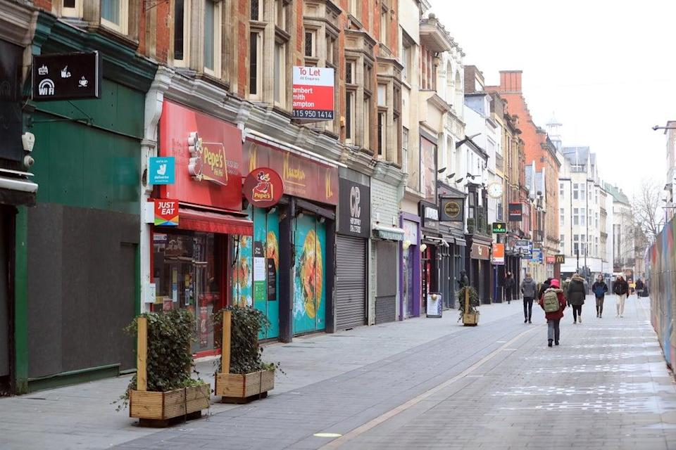 Closed shops during the winter lockdown on Leicester High Street. (PA) (PA Archive)