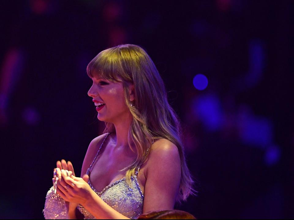 <p>Taylor Swift received the Global Icon award</p> (PA)