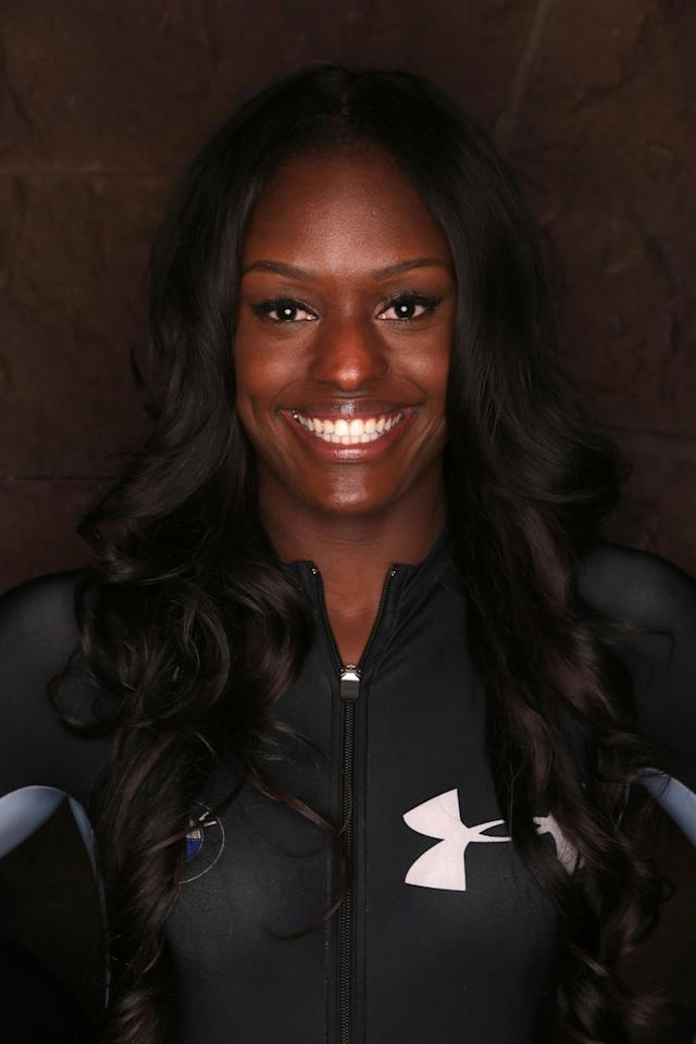 PARK CITY, UT - SEPTEMBER 29: Bobsledder Aja Evans poses for a portrait during the USOC Media Summit ahead of the Sochi 2014 Winter Olympics on September 29, 2013 in Park City, Utah. (Photo by Doug Pensinger/Getty Images)