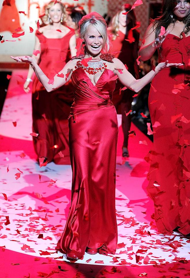 """Broadway star Kristin Chenoweth opened the show wearing heart-shaped jewelry by Daniel Swarovski. Frazer Harrison/<a href=""""http://www.gettyimages.com/"""" target=""""new"""">GettyImages.com</a> - February 11, 2010"""