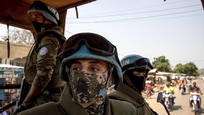 Egyptian personnel working for the United Nations Multidimensional Integrated Stabilization Mission in the Central African Republic (MINUSCA) patrol on the outskirts of the capital Bangui, Central African Republic (CAR), 25 December 2020