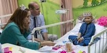 <p>The duchess dons a tiara for a tea party with a patient at the Shaukat Khanum Memorial Cancer Hospital.</p>
