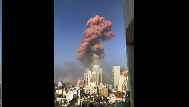 A plume of smoke rises over Beirut following a powerful explosion on Tuesday. By Ben Hubbard © 2020 The New York Times