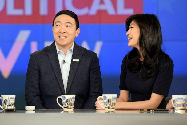PHOTO: Democratic presidential candidate Andrew Yang and his wife Evelyn Yang appear on ABC's 'The View,' Jan. 8, 2020. (Paula Lobo/ABC)