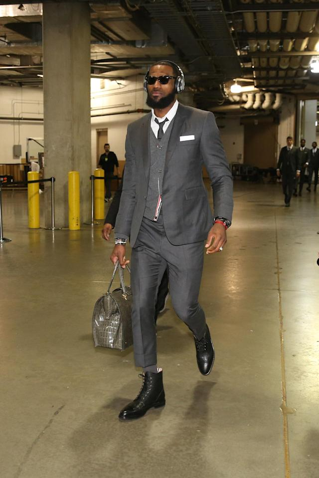 CLEVELAND, OH - APRIL 27: LeBron James #23 of the Cleveland Cavaliers arrives before the game against the Indiana Pacers in Game Six of Round One of the 2018 NBA Playoffs on April 27, 2018 at Bankers Life Fieldhouse in Indianapolis, Indiana. (Photo by Nathaniel S. Butler/NBAE via Getty Images)