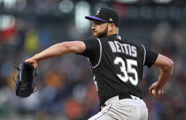 Colorado Rockies pitcher Chad Bettis works against the San Francisco Giants during the first inning of a baseball game Thursday, May 17, 2018, in San Francisco. (AP Photo/Ben Margot)