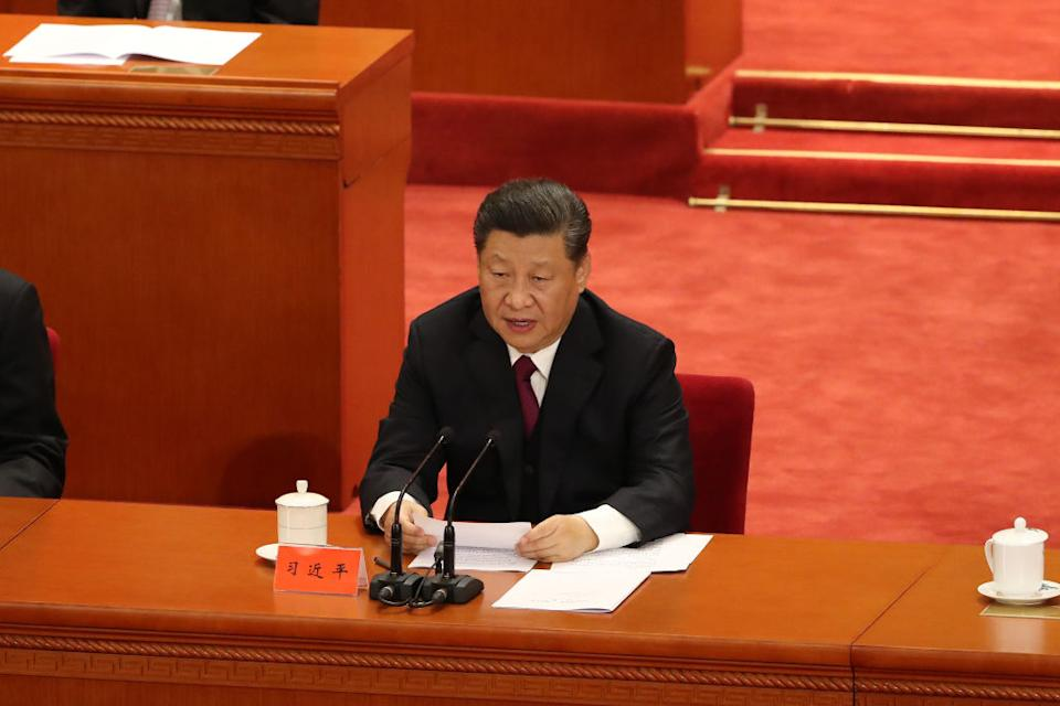 Chinese President Xi Jinping delivers a speech for the 100th Anniversary of the May 4 Movement at The Great Hall Of The People in Beijing, China.