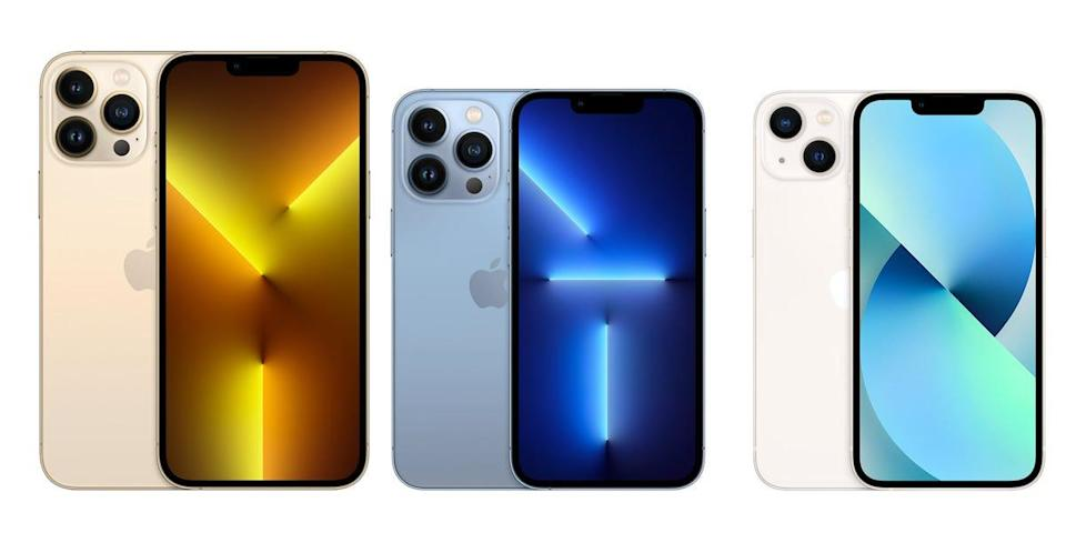The iPhone 13 Pro Max, iPhone 13 Pro, and iPhone 13.
