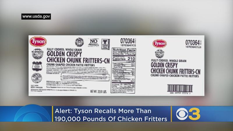 One of the world's largest processors and marketers of chicken has recalledover 190,000 pounds of its ready-to-eat chicken fritter products after severalschools found