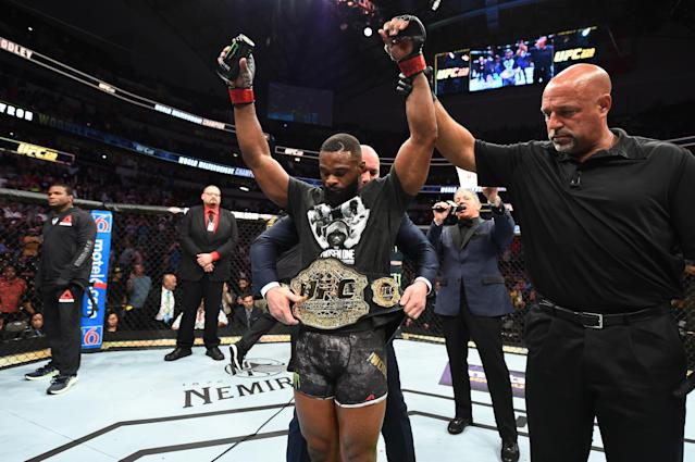 UFC welterweight champion Tyron Woodley celebrates after defeating Darren Till during UFC 228 at American Airlines Center on Sept. 8, 2018 in Dallas, Texas. (Getty Images)
