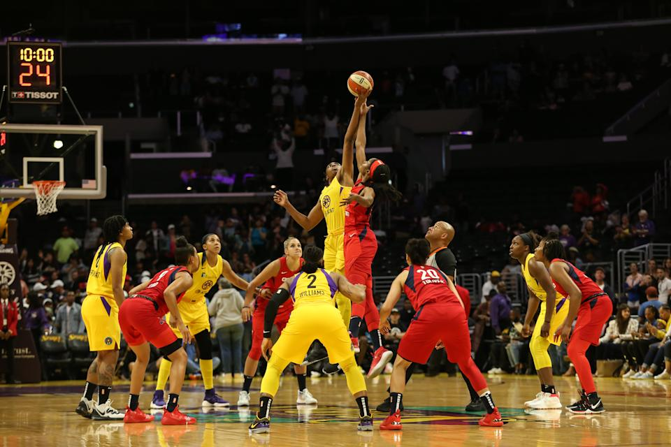Jump ball to tip off the game during the Washington Mystics vs Los Angeles Sparks game on July 07, 2019, at Staples Center in Los Angeles, CA. (Photo by Jevone Moore/Icon Sportswire via Getty Images)