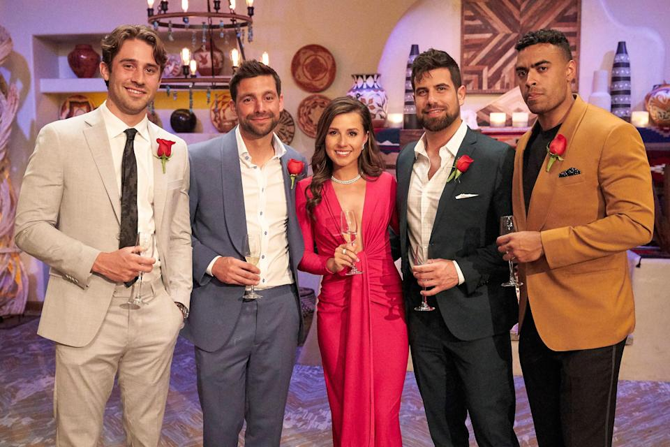 """From left: Greg, Michael, Katie, Blake, and Justin. So which guy is the right fit for Katie? """"Greg brings out this really loving, passionate side of her; Blake brings out the goofy and in-love side, and Justin brings out a more serious side,"""" Kaitlyn Bristowe tells Glamour. """"She has this unique ability to get in the moment with each one of them that makes me think there's no wrong choice here."""""""