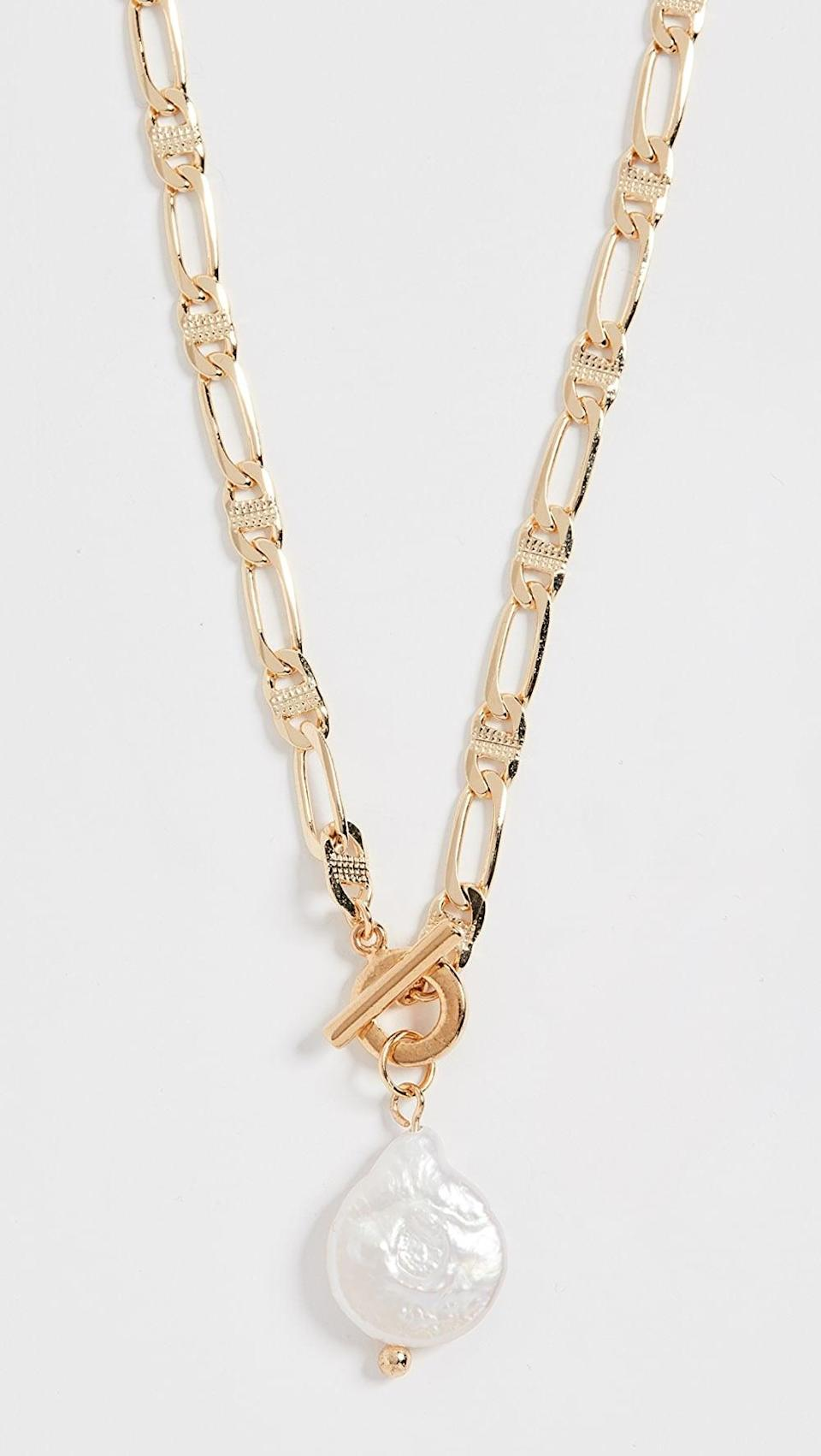 <p>Save this <span>Shashi Sovereign Necklace</span> ($64) for your next fancy dinner date.</p>