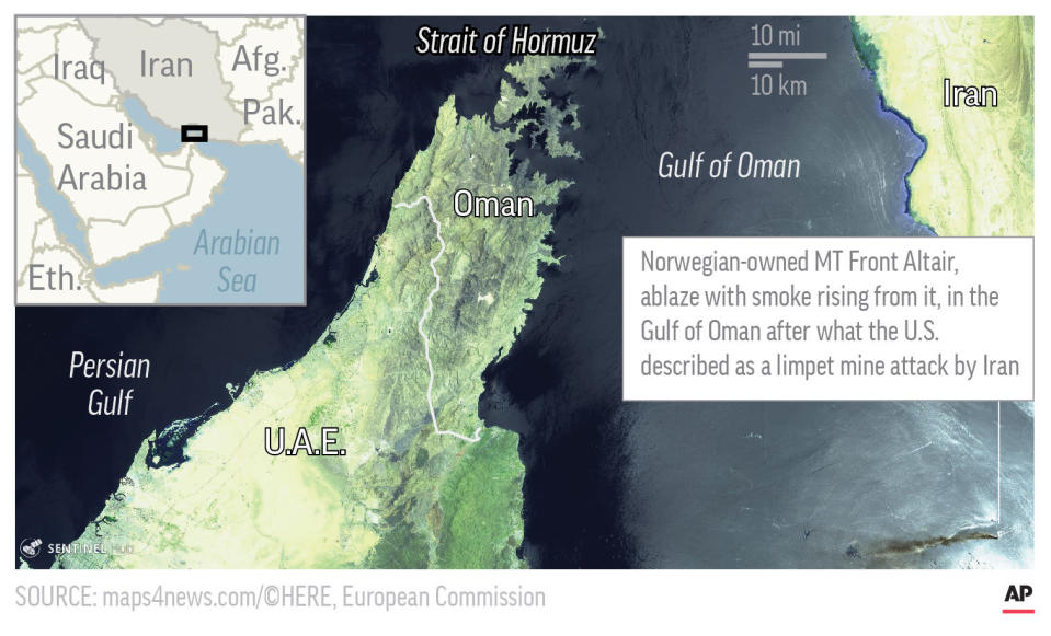 Map shows aerial satellite image of area in the Gulf of Oman, where an oil tanker was attacked; 3c x 3 inches; 146 mm x 76 mm;