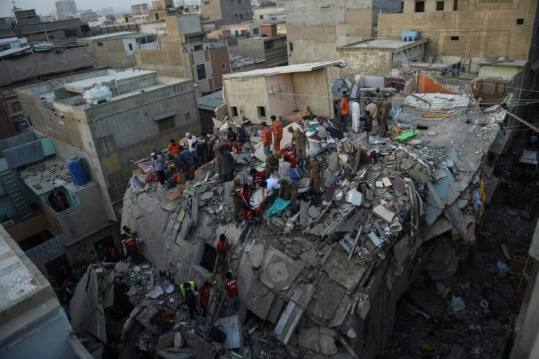 At least 16 people were killed in the Karachi apartment building collapse