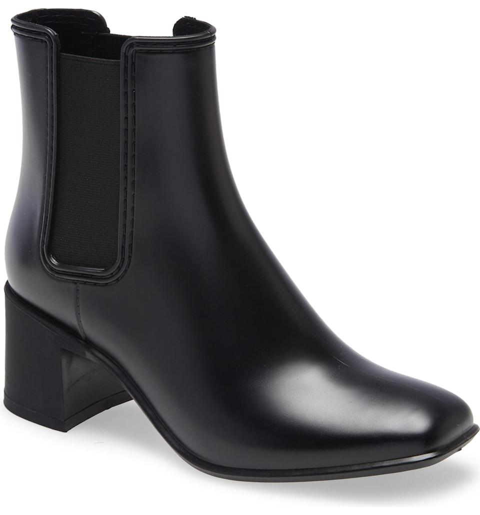 <p>Add a little something extra to your rainy day look with these cute <span>Jeffrey Campbell Rainy Day Waterproof Chelsea Rain Boots</span> ($65). If you can't be without your heels, these are the ones for you.</p>