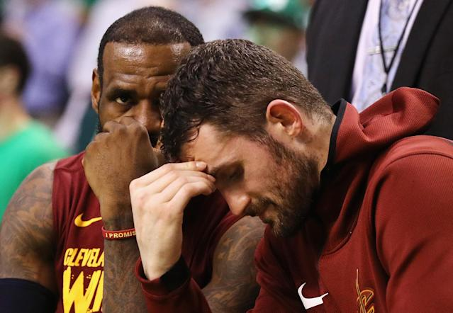 LeBron James and Kevin Love go back to the drawing board. (Getty)