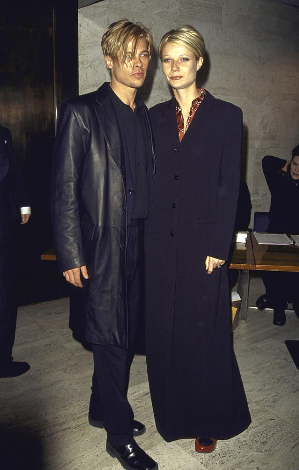 """<p class=""""MsoNormal"""">Did Gwyneth and Brad Pitt practice their pouts beforehand? The then-couple stepped out together for the premiere of Brad's 1997 thriller """"The Devil's Own"""" sporting oddly looking similar styles with their sideswept<span> </span>blond 'dos and long black coats. (3/20/1997)</p>"""