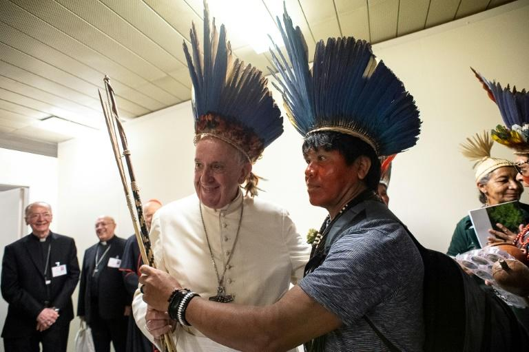 Pope Francis (L) is hosting the special three-week assembly of Catholic bishops on the Pan-Amazonian region (AFP Photo/Handout)