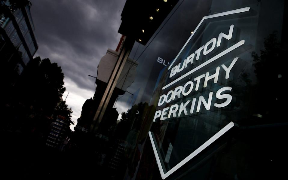 Signage can be seen outside a Burton and Dorothy Perkins store