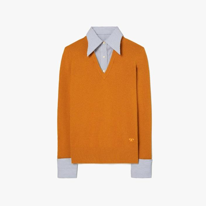 """$498, TORY BURCH. <a href=""""https://www.toryburch.com/en-us/clothing/sweaters/dickie-pullover/84266.html?color=861"""" rel=""""nofollow noopener"""" target=""""_blank"""" data-ylk=""""slk:Get it now!"""" class=""""link rapid-noclick-resp"""">Get it now!</a>"""