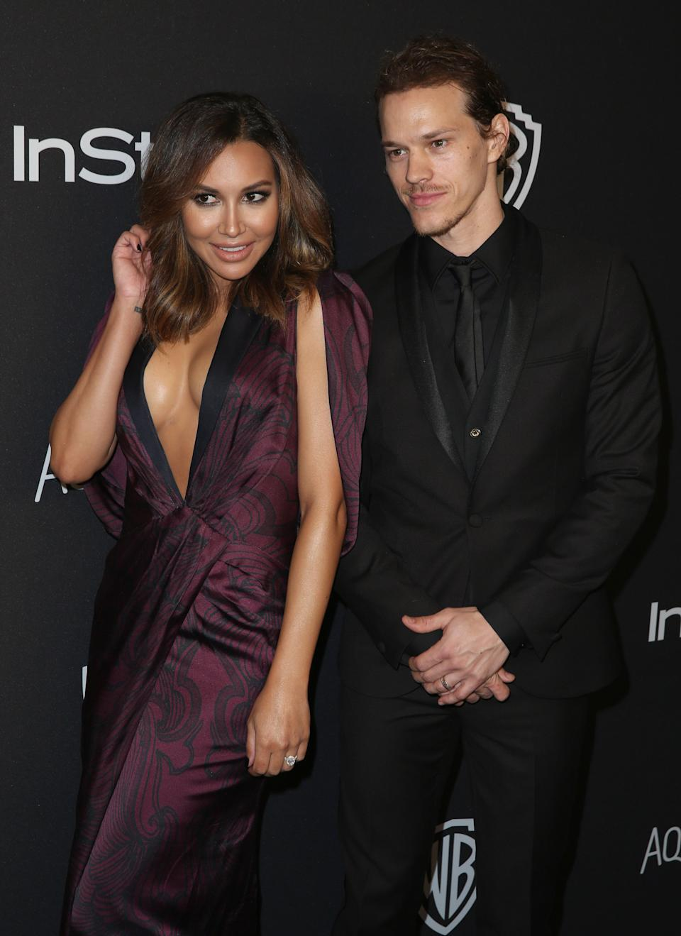 Naya Rivera, left, and Ryan Dorsey arrive at the InStyle and Warner Bros. Golden Globes afterparty at the Beverly Hilton Hotel on Sunday, Jan. 10, 2016, in Beverly Hills, Calif.