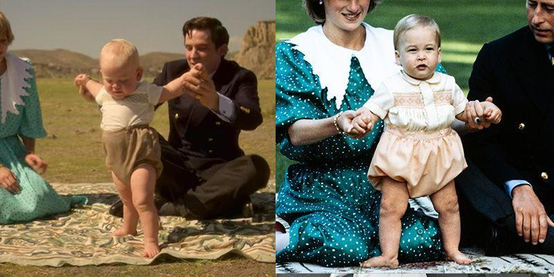 <p>In season four of <em>The Crown </em>we are not only introduced to Princess Diana but a six month old Prince William. In one scene the television show decided to copy his tan bubble bottoms and smock shirt almost exactly as he wore on the royal tour in 1983. </p>