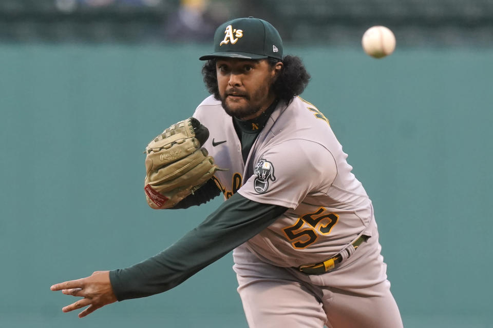Oakland Athletics' Sean Manaea delivers a pitch against the Boston Red Sox in the first inning of a baseball game, Thursday, May 13, 2021, in Boston. (AP Photo/Steven Senne)