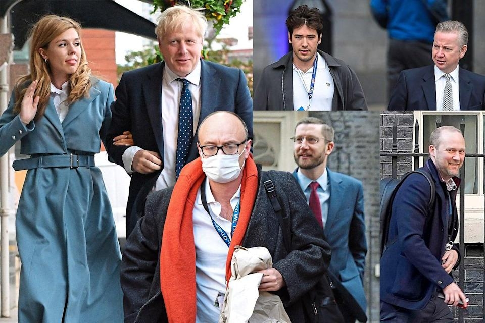 <p>Clockwise from left: Carrie Symonds and Boris Johnson, Henry Newman, Michael Gove, Jack Doyle, Simon Case, and Dominic Cummings</p> (ES Composite)