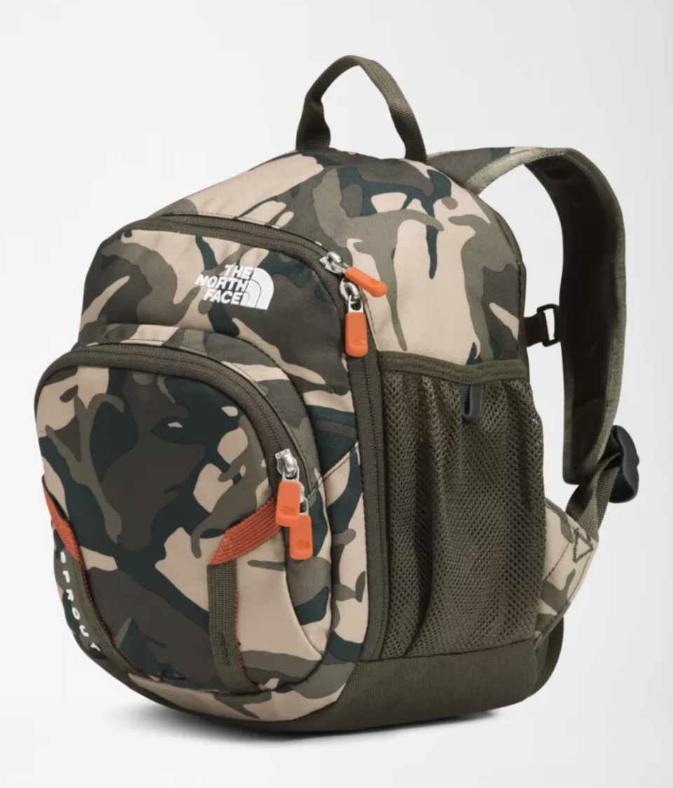 The best backpacks for elementary school: The North Face Kids Sprout Backpack in Camo (Photo via The North Face)