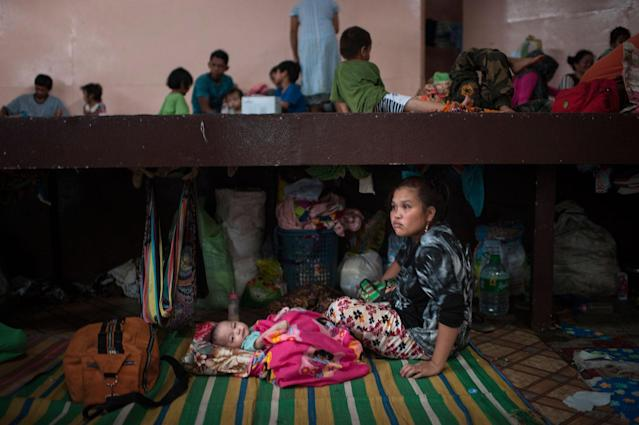 <p>Residents who survived the siege of ISIS-linked militatnts took shelter in a gymnasium of an adjacent town on May 30, 2017 in Baloi, Lanao del Norte, Philippines. (Jes Aznar/Getty Images) </p>