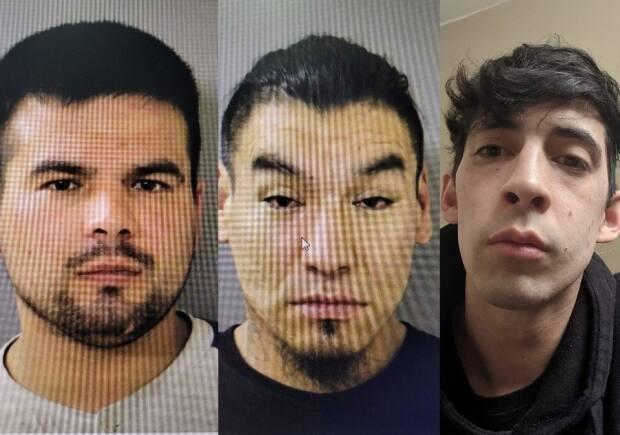 RCMP have warrants out for the arrests of three men: Dustin Shaun Kennedy, left, and Scott Ramsey Cook, centre — who are both 34 and from Yorkton —and Tyson Ledoux, 30, of Regina. (Yorkton RCMP - image credit)