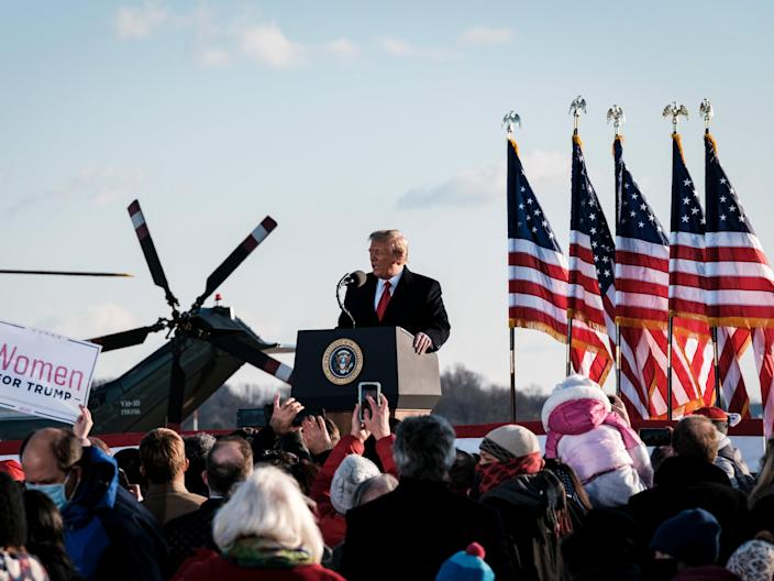 <p>Trump at Joint Base Andrews in Maryland on his last day as president</p> (Getty News)