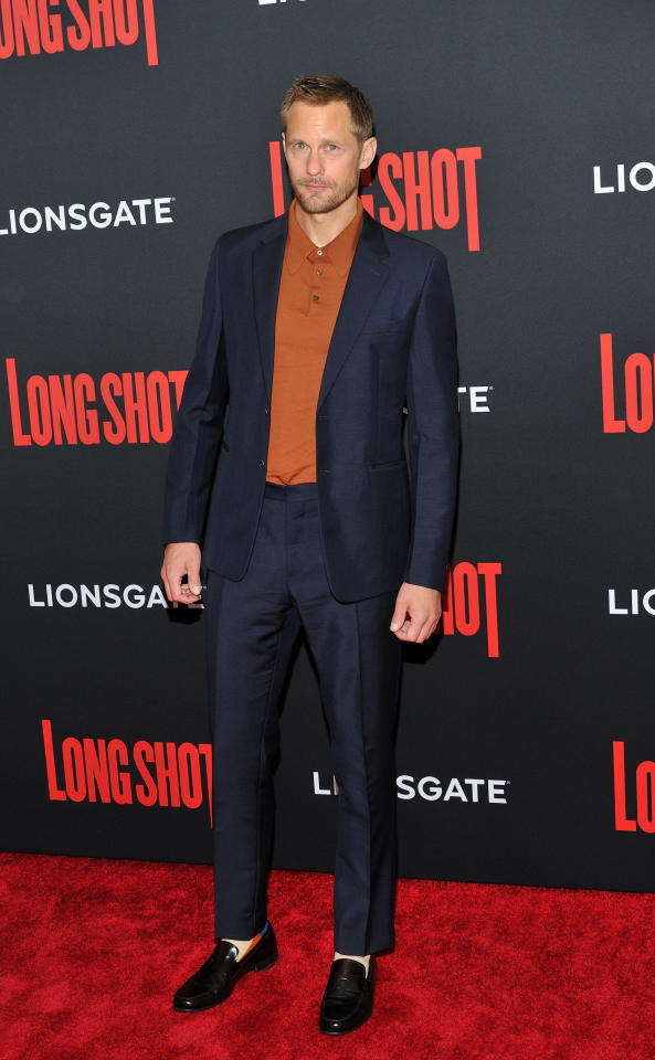 <p><span>The 'Big Little Lies' actor wore a navy suit and orange sweatshirt at the 'Long Shot' premiere at the AMC Lincoln Square Cinema in New York. </span><em>[Photo: PA]</em> </p>