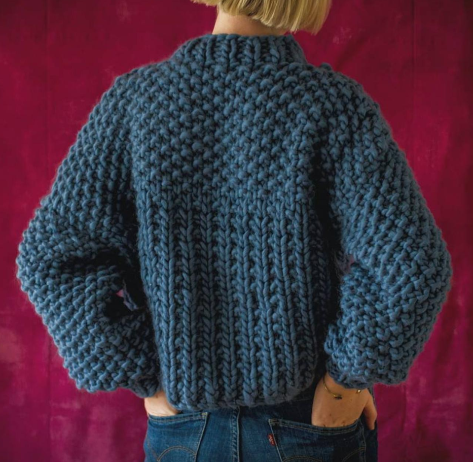 Toast Yarn Chunky Hand Knit Navy Merino Wool Pullover in Navy