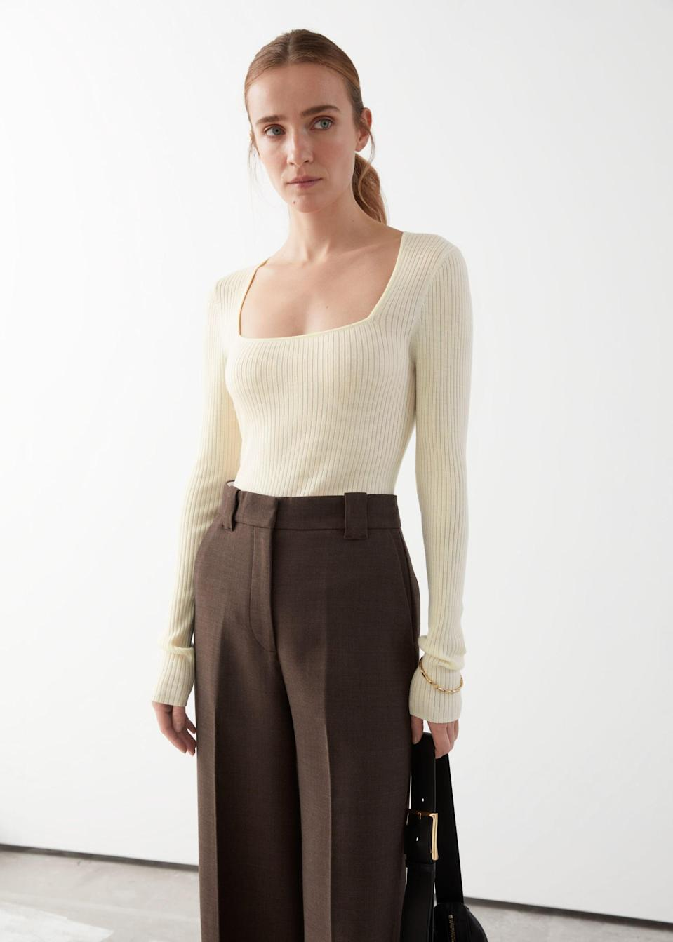 <p>Tuck this <span>&amp; Other Stories Fitted Rib Top</span> ($62, originally $89) in your favorite trousers for a polished look, or jeans for a casual chic ensemble.</p>