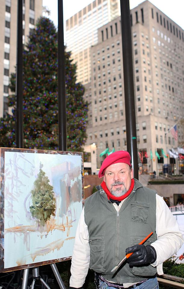 Artist Thomas Kinkade paints the 2007 Rockefeller Center Christmas Tree November 30, 2007 in New York City.