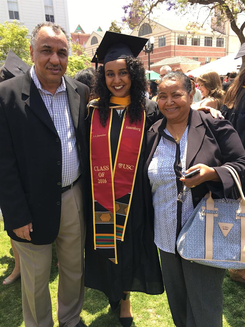 Rasha Ali with her parents, Rasheed Ali, left, and Sowad Hassan, right, in Los Angeles in May 2016.