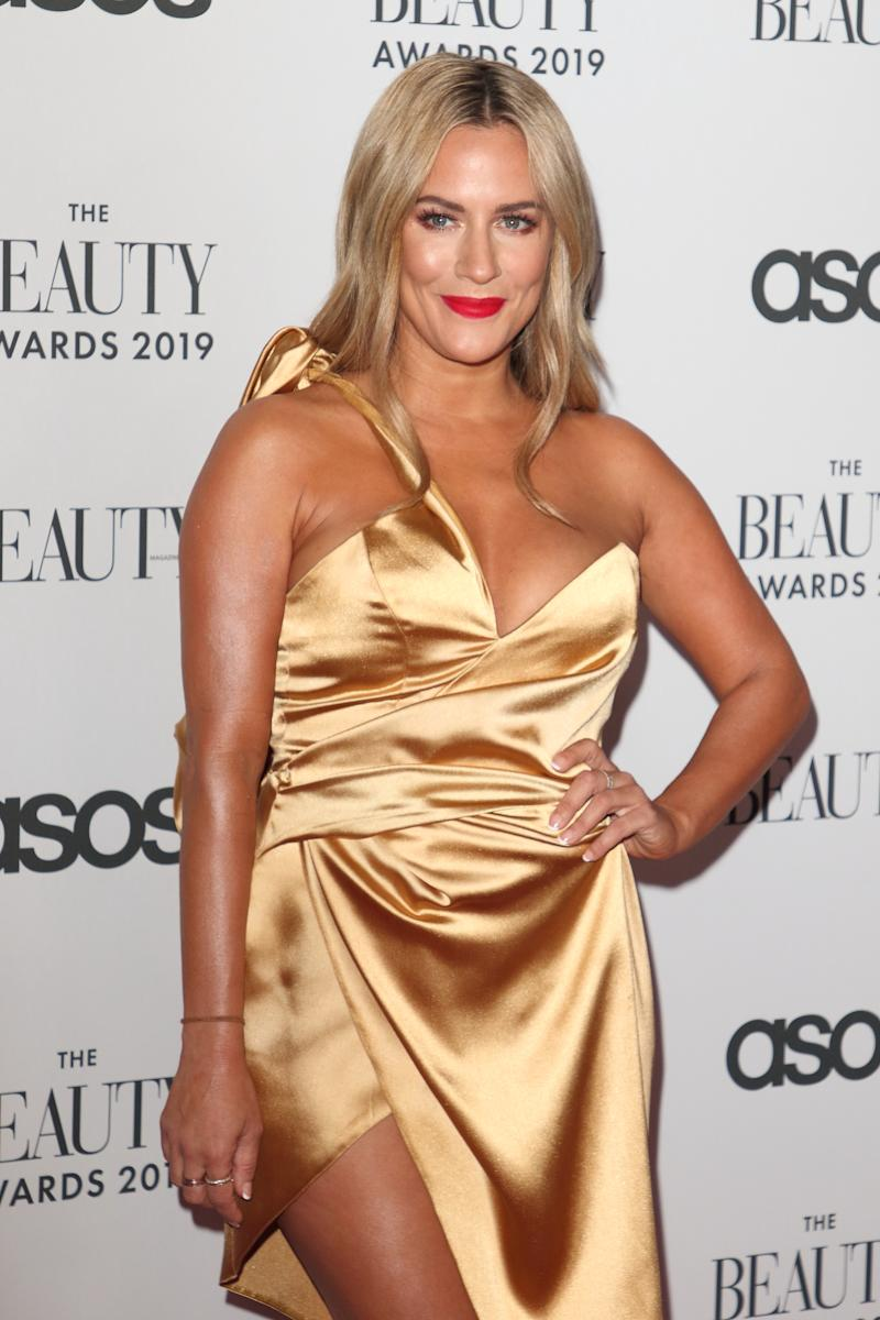 British TV Presenter Caroline Flack aged 40 was found dead today at her home. She had appeared as a host of several popular Television shows the most recent being Love Island for which she received a BAFTA TV Award at The Beauty Awards 2019 - VIP Pink Carpet at City Central at the HAC, Chiswell. (Photo by Keith Mayhew / SOPA Images/Sipa USA)